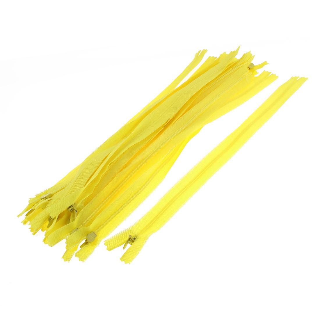20 Pcs 12-inch Long Yellow Nylon Zippers Zips for Clothing