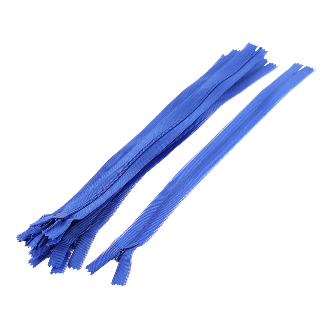 10 Pcs Blue 30cm Length Nylon Zippers Zips for Clothes