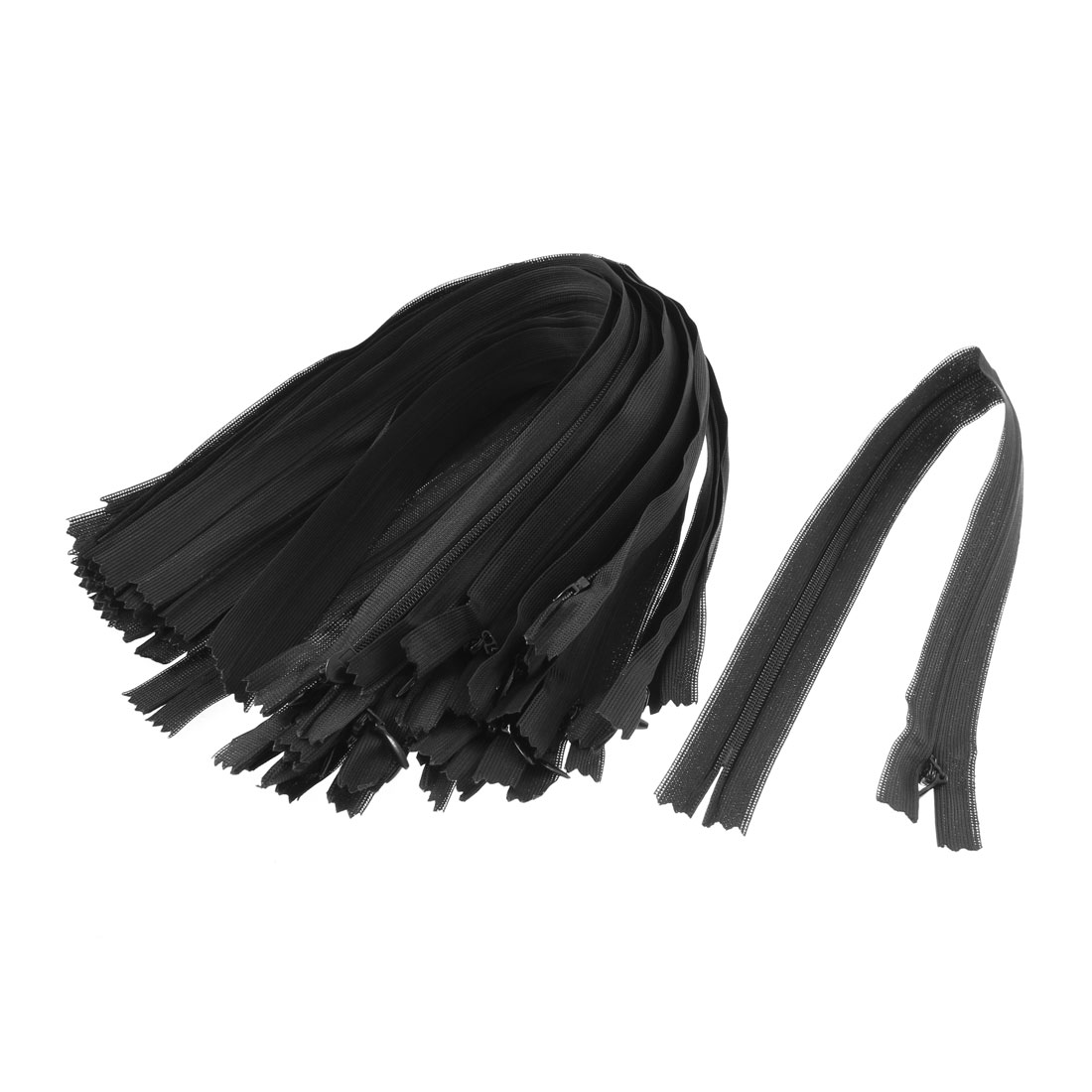 Black Invisible Nylon Zips Zipper Fastener 14-inch 20 Pcs
