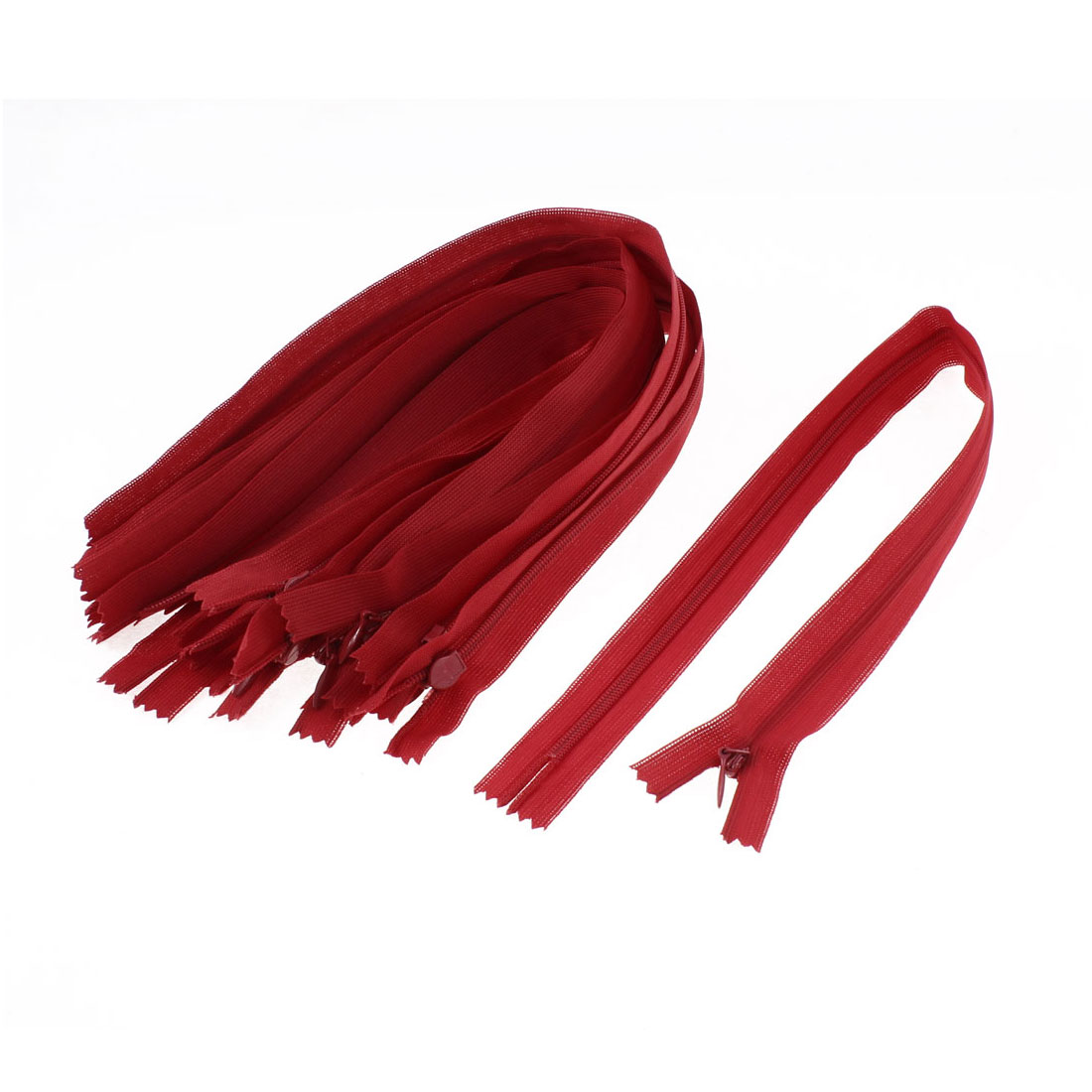 Red Invisible Nylon Concealed Zip Zipper 14-inch 10 Pcs