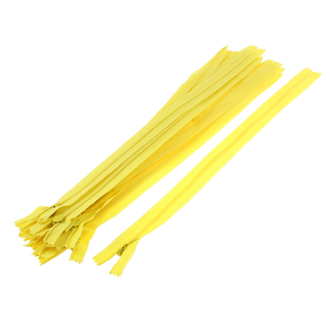 Yellow Invisible Nylon Zips Zipper Fastener 14-inch 20 Pcs