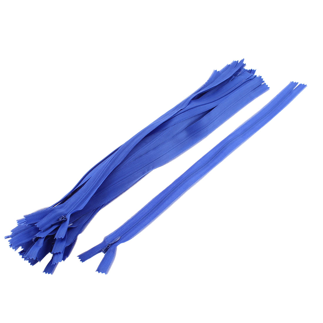Blue Invisible Nylon Zips Zipper Fastener 14-inch 20 Pcs