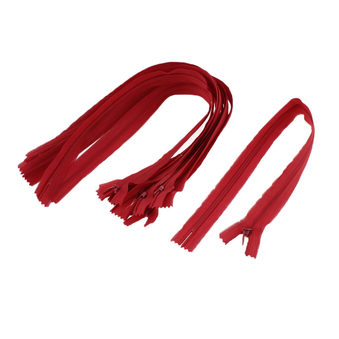Dress Pants Closed End Nylon Zippers Tailor Sewing Craft Tool Red 40cm 10 Pcs