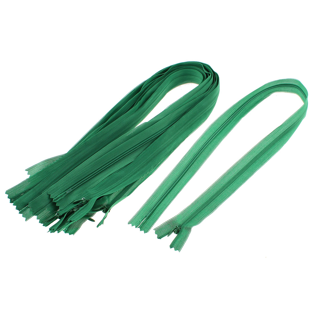 Green Nylon Coil Close End Zippers Tailor Sewing Tools 24-inch 10 Pcs