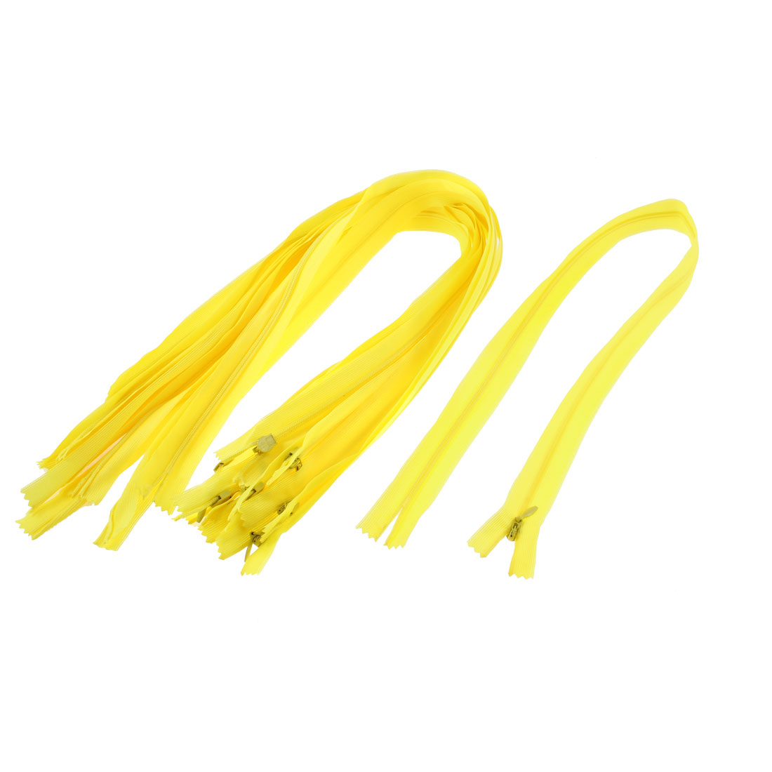 Yellow Nylon Coil Close End Zippers Tailor Sewing Tools 24-inch 10 Pcs