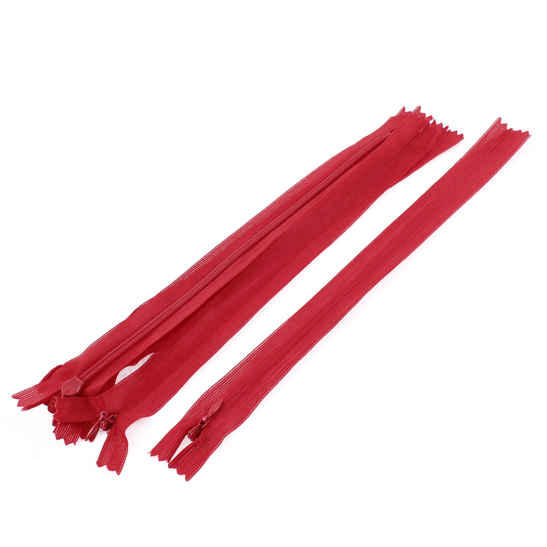 Dress Pants Closed End Nylon Zippers Tailor Sewing Craft Tool Red 25cm 5 Pcs