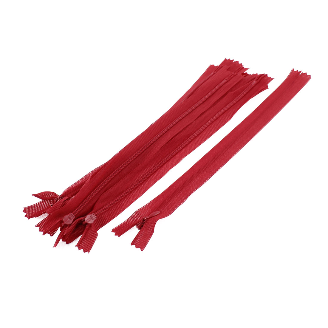 Dress Pants Closed End Nylon Zippers Tailor Sewing Craft Tool Red 25cm 10 Pcs