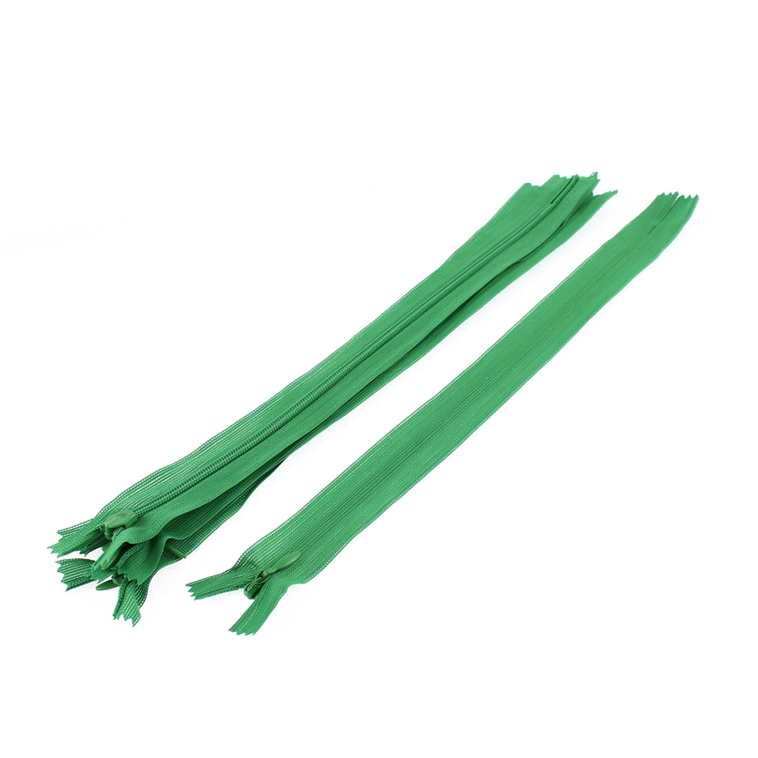 Clothes Invisible Nylon Coil Zippers Tailor Sewing Craft Tool Green 25cm 5 Pcs