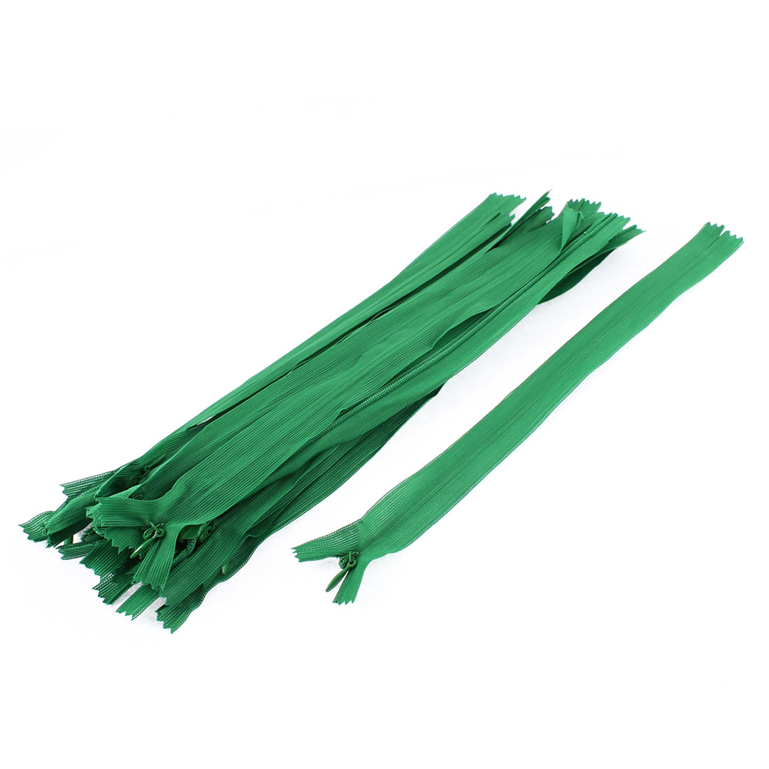 Clothes Invisible Nylon Coil Zippers Tailor Sewing Craft Tool Green 25cm 20 Pcs