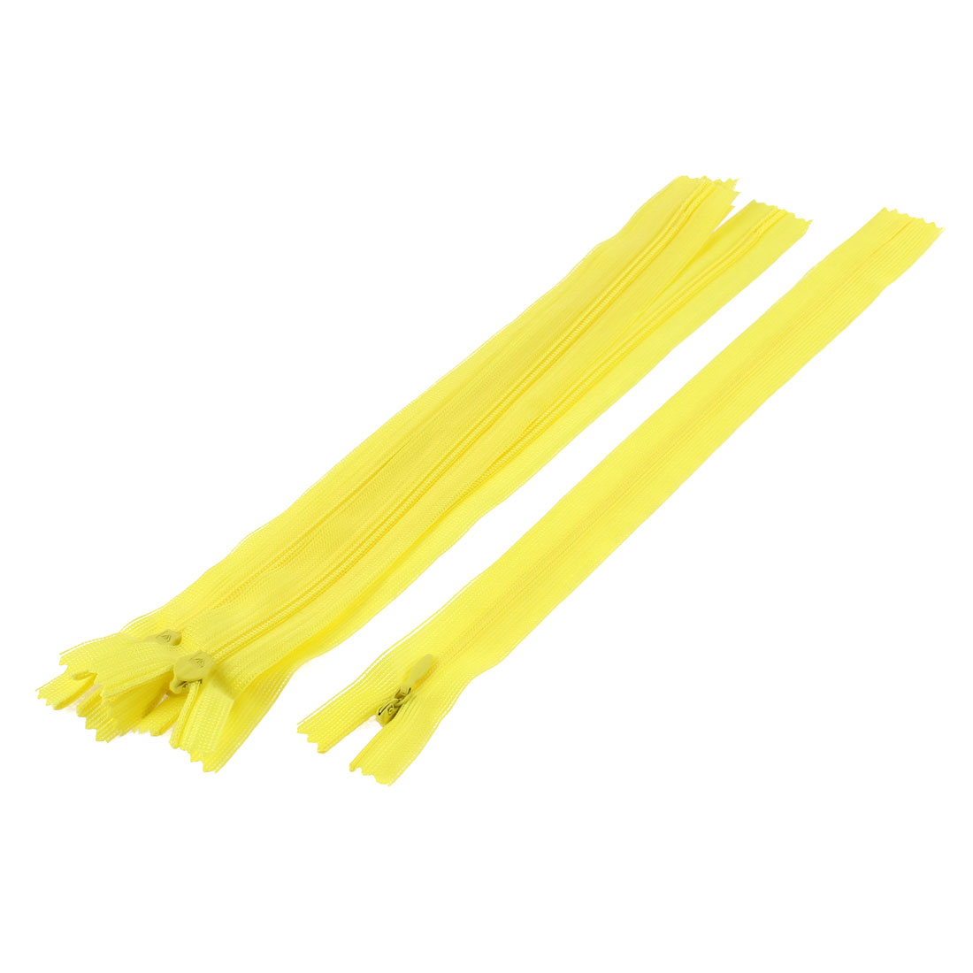 Clothes Invisible Nylon Coil Zippers Tailor Sewing Craft Tool Yellow 25cm 5 Pcs