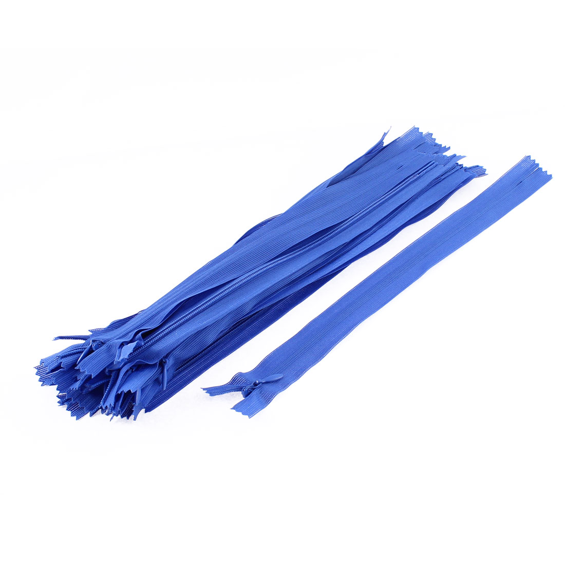 Clothes Invisible Nylon Coil Zippers Tailor Sewing Craft Tool Blue 25cm 20 Pcs