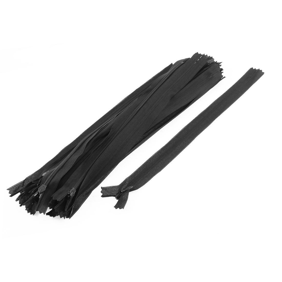 20 Pcs Black 30cm 12-inch Nylon Zippers for Doll Clothes