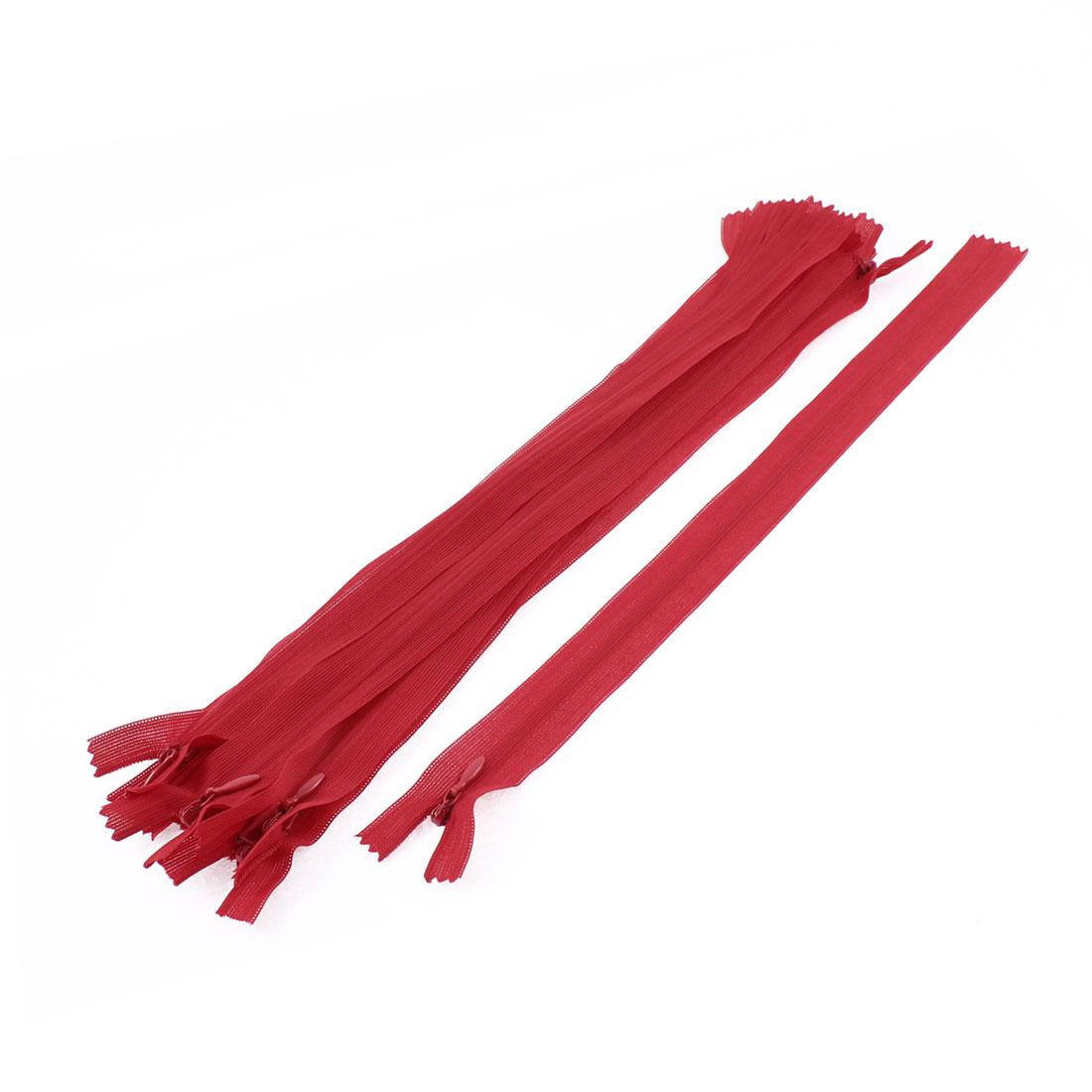10 Pcs Red 12-inch Long Nylon Zippers Zips for Doll Handbag