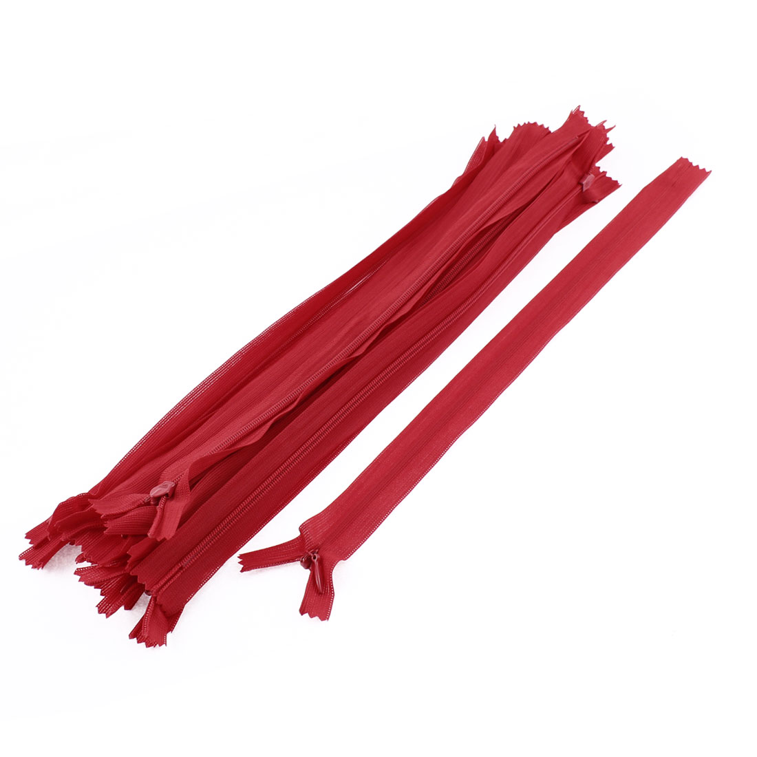 20 Pcs Red 30cm 12-inch Nylon Zippers for Doll Clothes