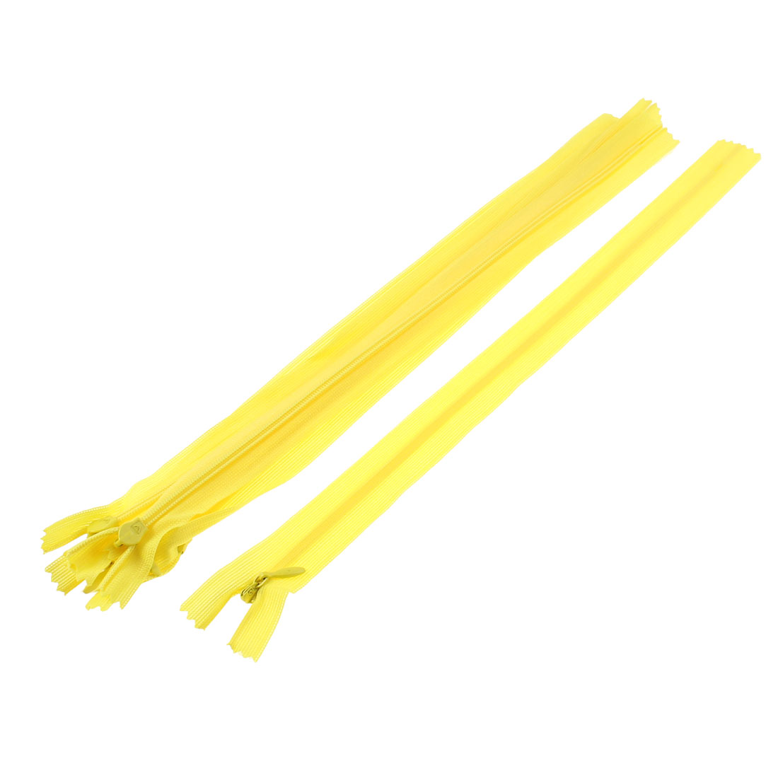 5 Pcs Yellow 12-inch Nylon Zippers Zips for Doll Clothes