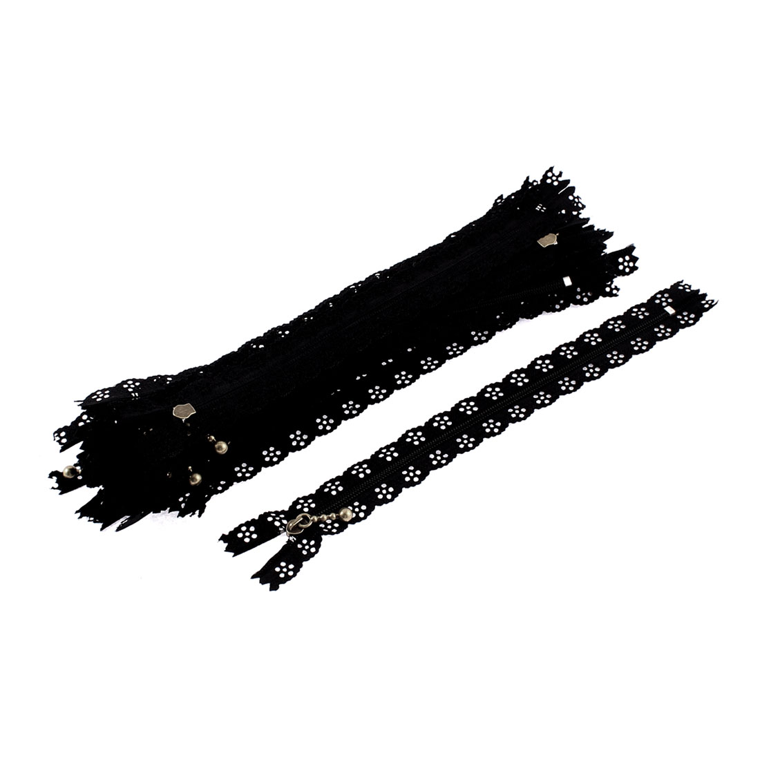 Nylon Coil Zippers Lace Edge Tailor Bag Clothing DIY Craft Black 20cm 20 Pcs