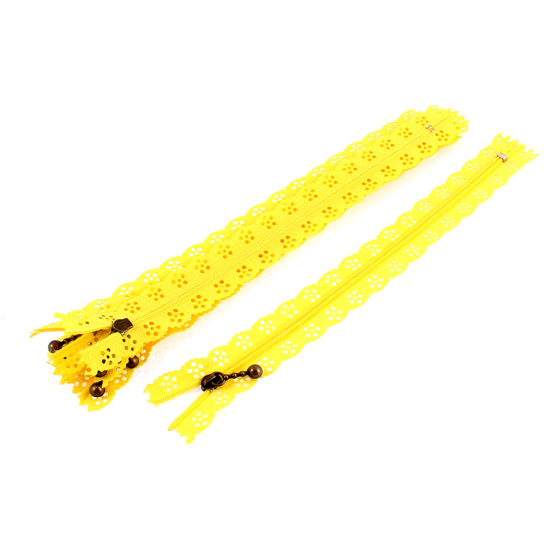 Nylon Coil Zippers Lace Edge Tailor Bag Clothing DIY Craft Yellow 20cm 5 Pcs