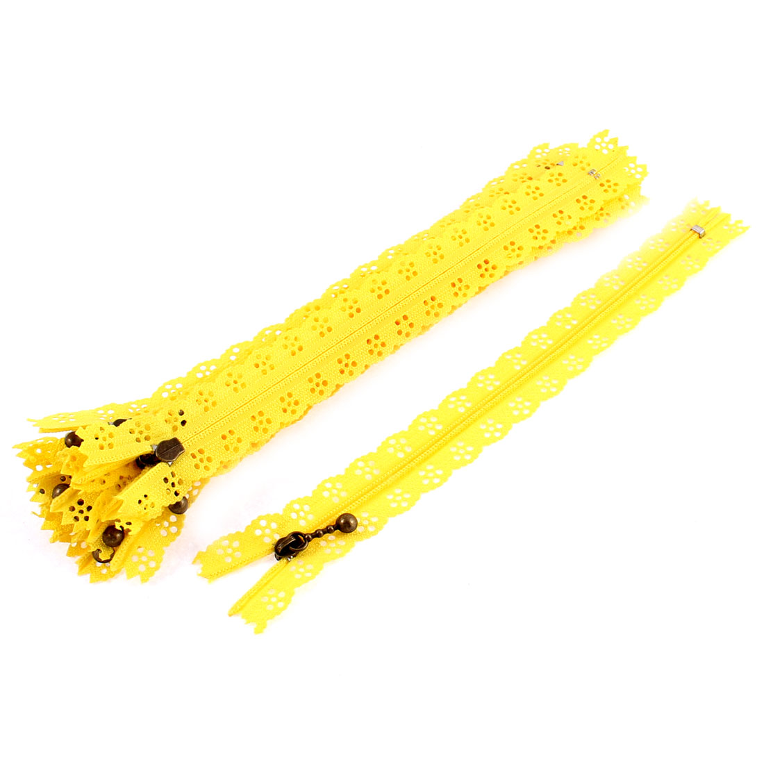 10 Pcs Yellow Nylon Lace Edged Closed End Sewing Zipper Zip