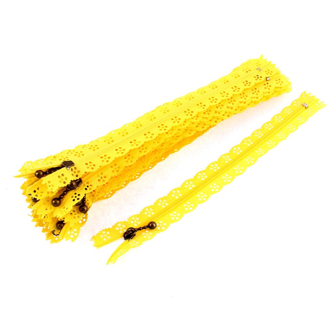 Nylon Coil Zippers Lace Edge Tailor Bag Clothing DIY Craft Yellow 20cm 20 Pcs