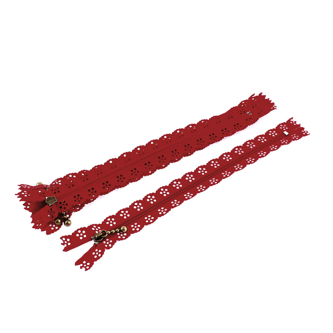 Nylon Coil Zippers Lace Edge Tailor Bag Clothing DIY Craft Red 20cm 5 Pcs