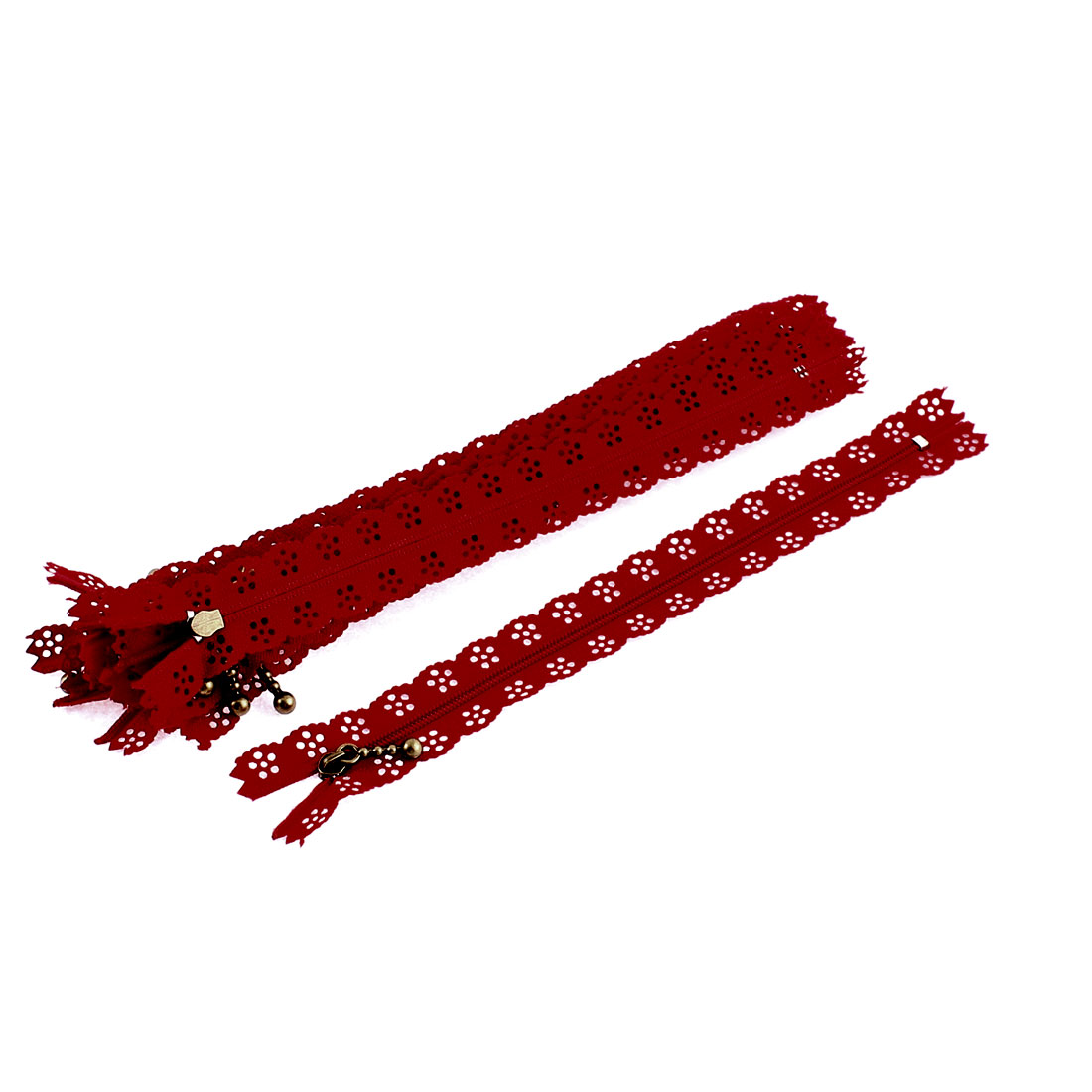 10 Pcs Red Nylon Lace Edged Closed End Sewing Zipper Zip