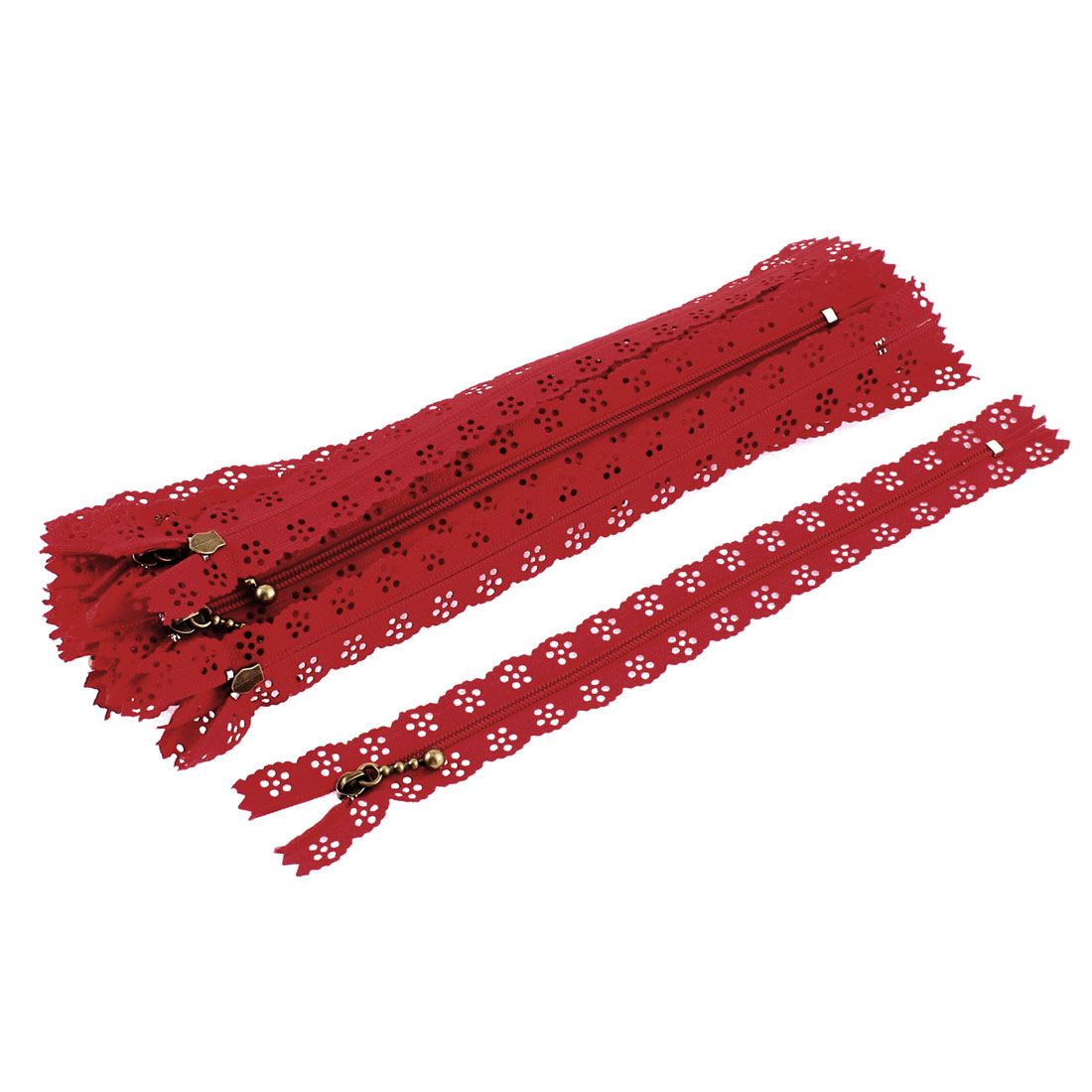 Nylon Coil Zippers Lace Edge Tailor Bag Clothing DIY Craft Red 20cm 20 Pcs