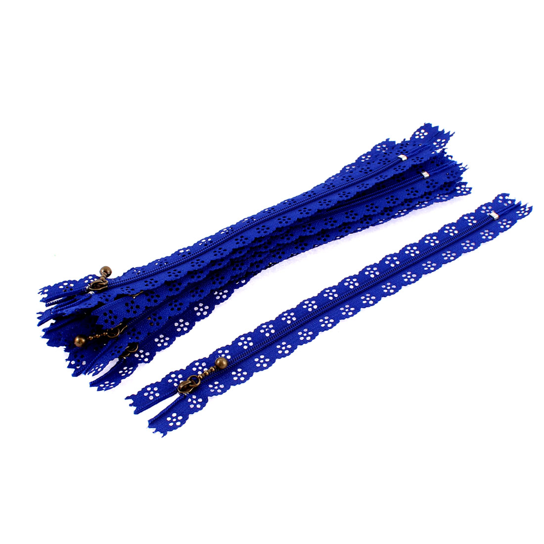 10 Pcs Blue Nylon Lace Edged Closed End Sewing Zipper Zip