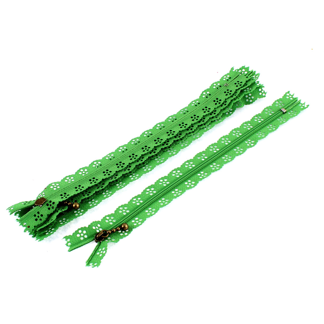 Nylon Coil Zippers Lace Edge Tailor Bag Clothing DIY Craft Green 20cm 5 Pcs
