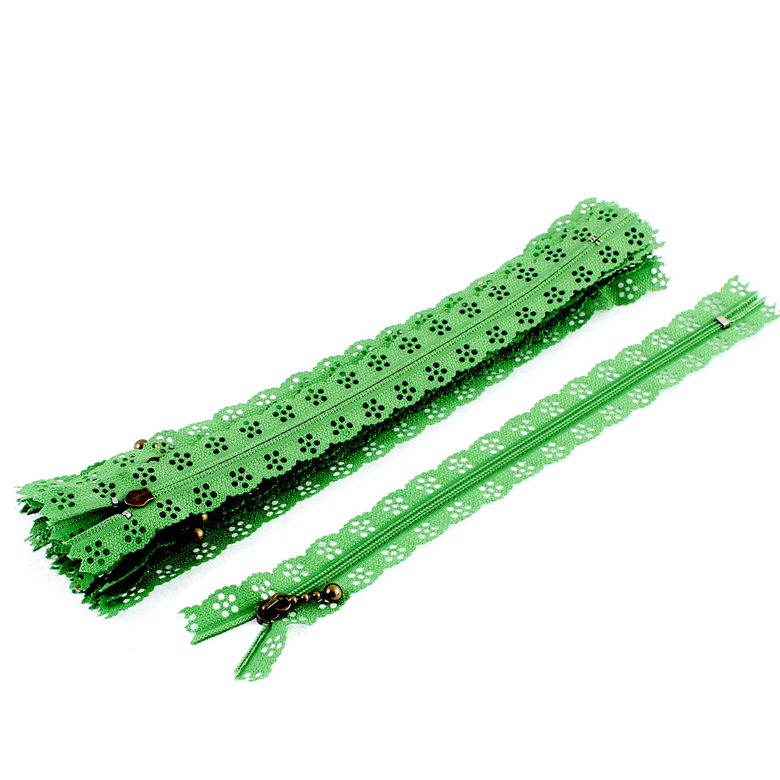 10 Pcs Green Nylon Lace Edged Closed End Sewing Zipper Zip