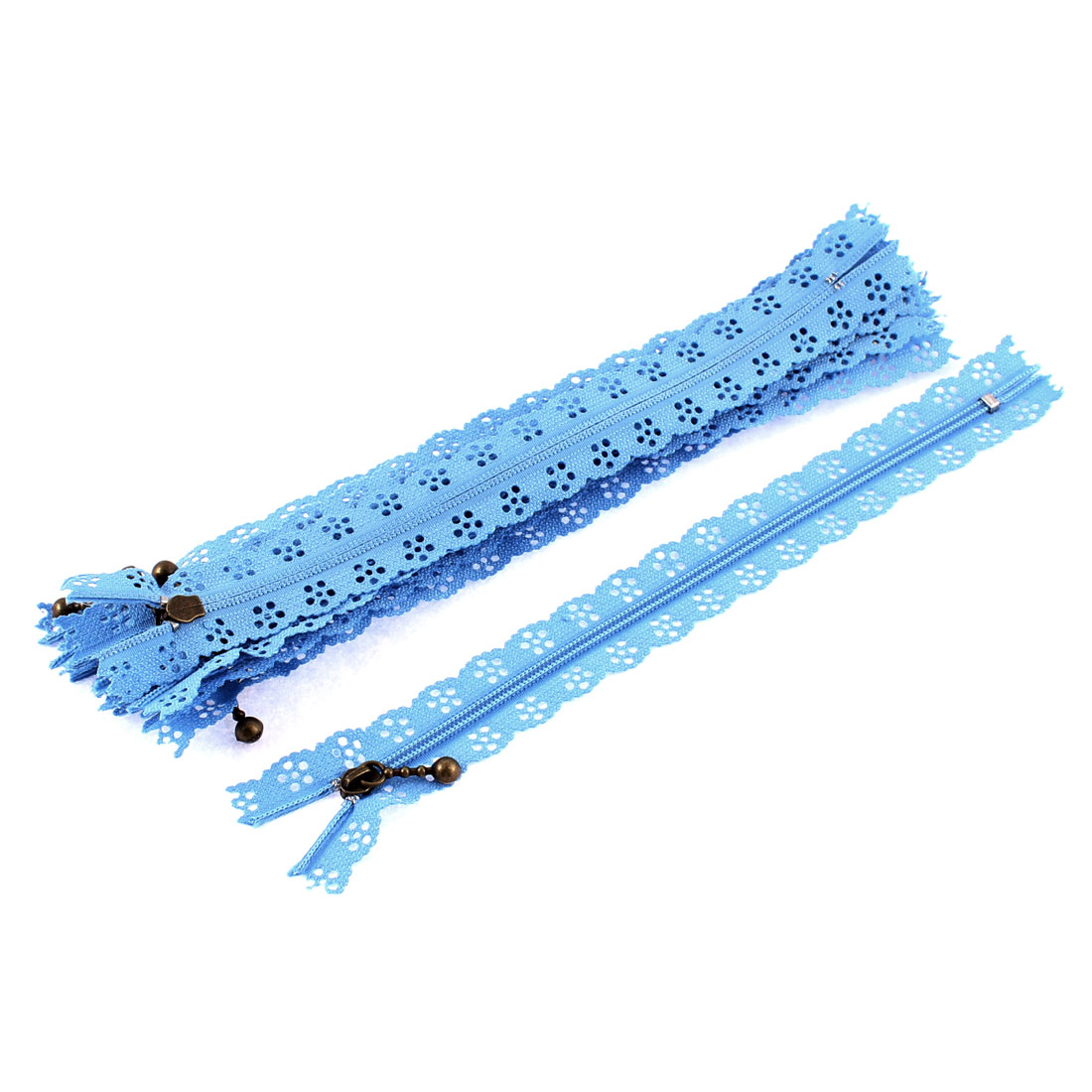 10 Pcs Light Blue Nylon Lace Edged Closed End Sewing Zipper Zip