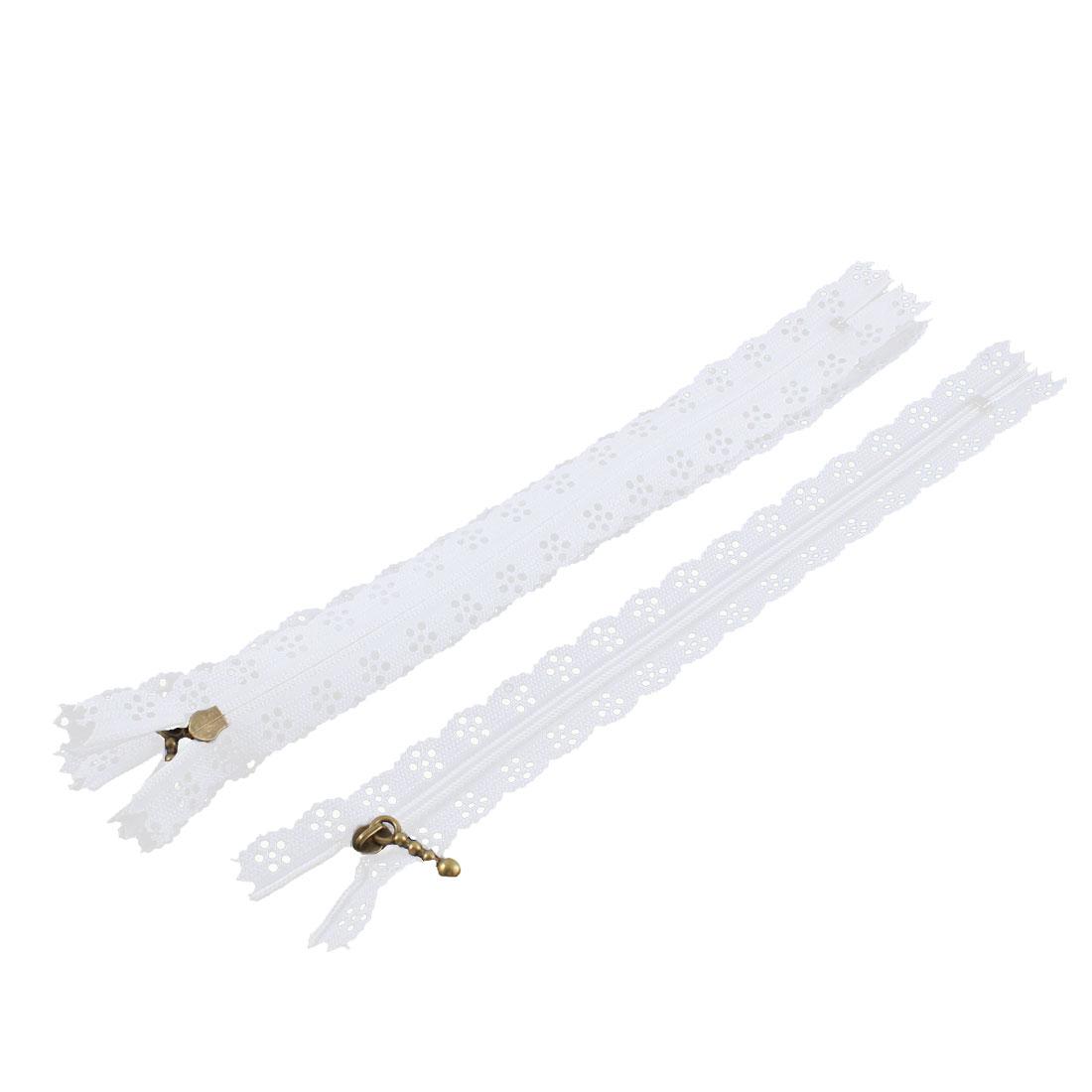 Nylon Coil Zippers Lace Edge Tailor Bag Clothing DIY Craft White 20cm 5 Pcs