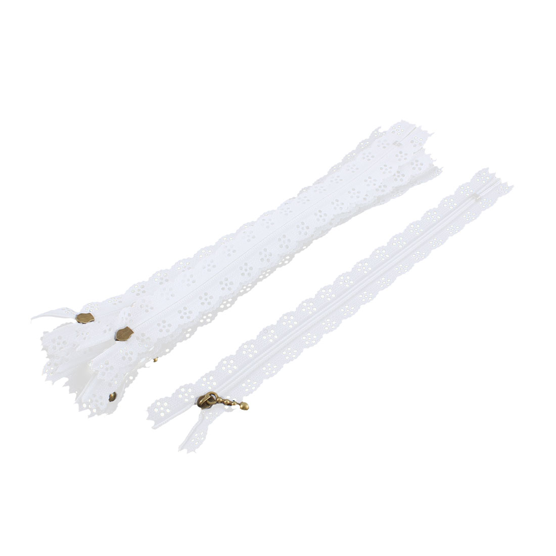 10 Pcs White Nylon Lace Edged Closed End Sewing Zipper Zip