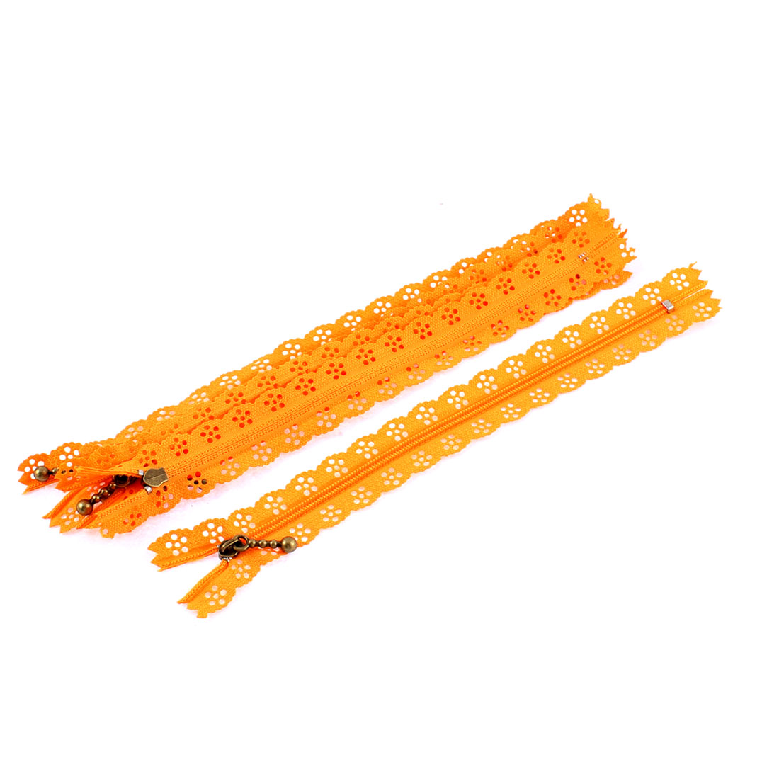 Nylon Coil Zippers Lace Edge Tailor Bag Clothing DIY Craft Orange 20cm 5 Pcs
