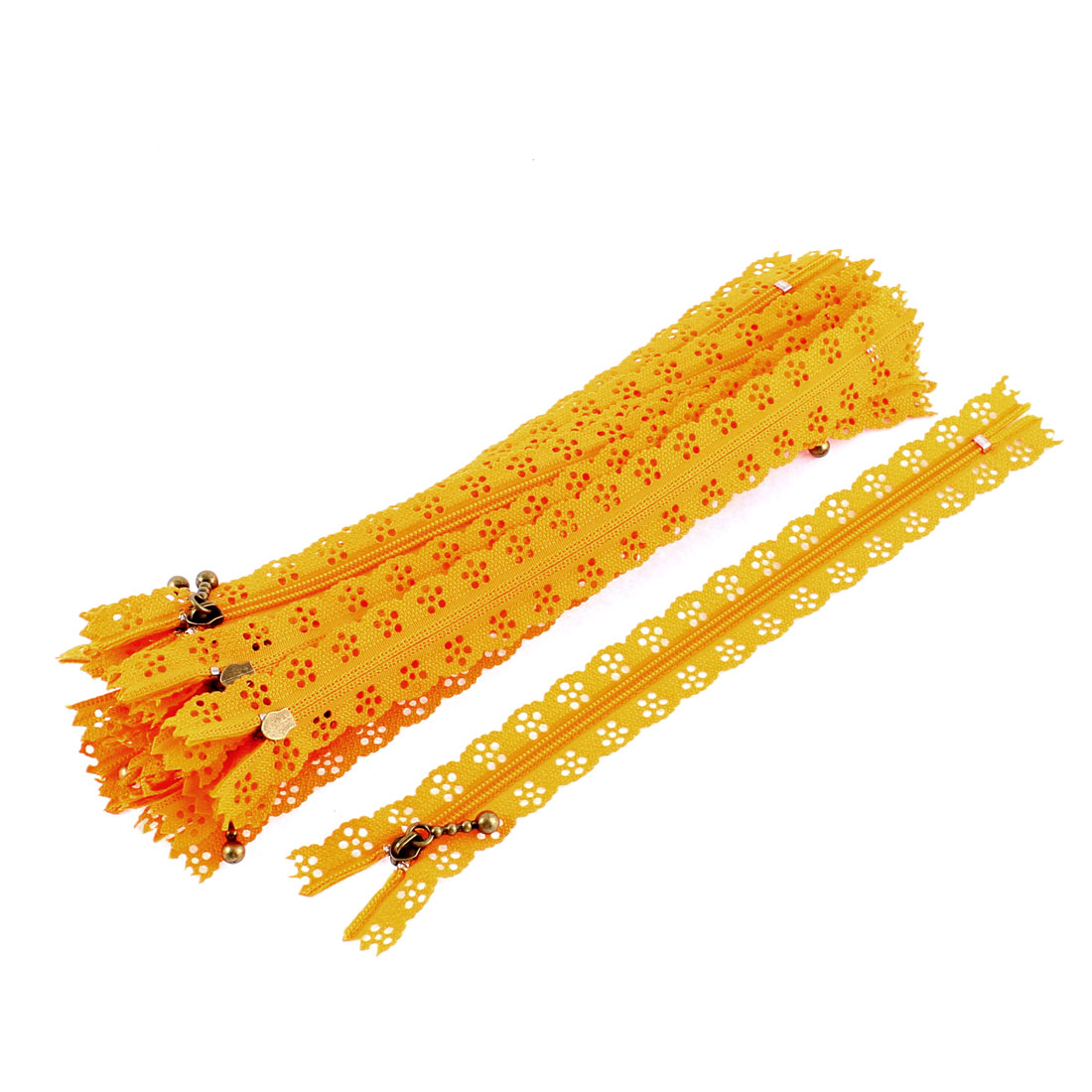 Nylon Coil Zippers Lace Edge Tailor Bag Clothing DIY Craft Orange 20cm 20 Pcs