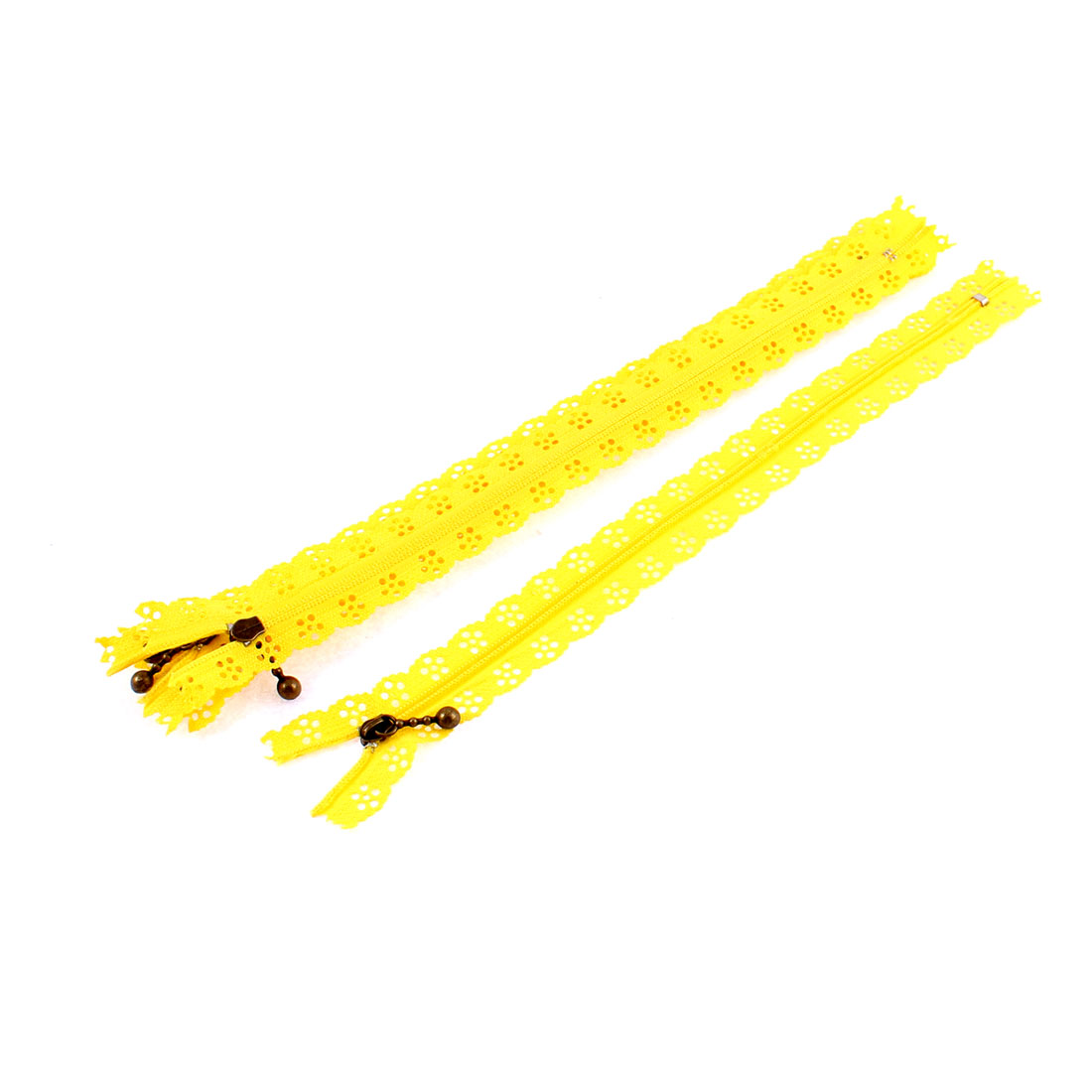 Yellow Nylon Flower Floral Lace Closed End Zip Zippers 5 Pcs