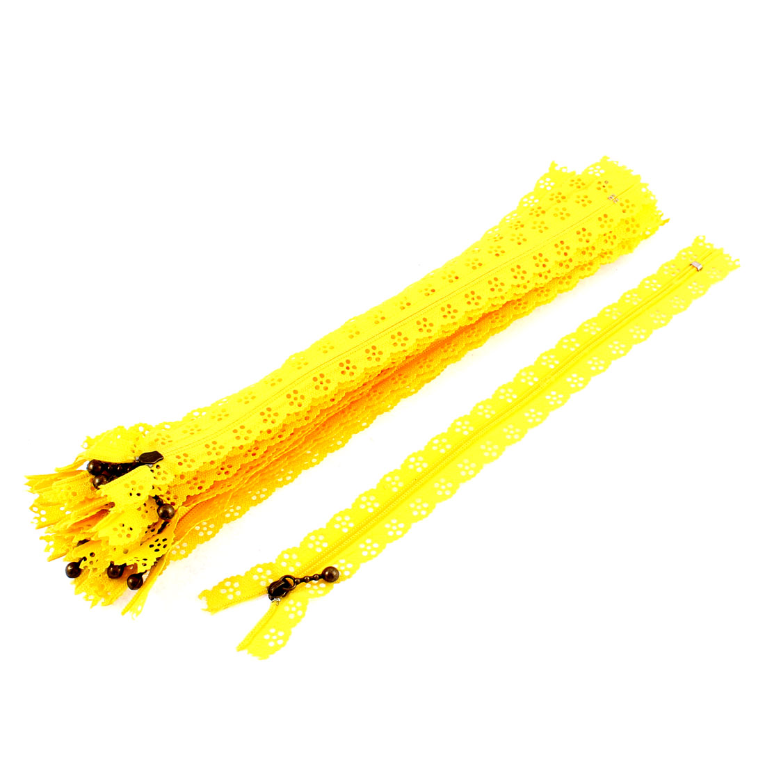 Yellow Flower Floral Lace Closed End Zip Zippers 20 Pcs