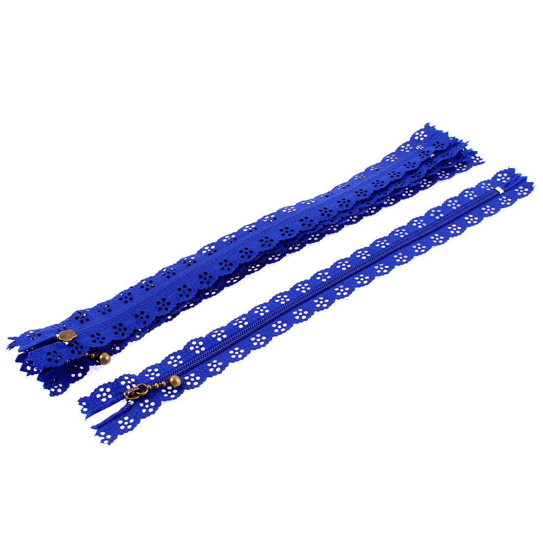 Blue Nylon Flower Floral Lace Closed End Zip Zippers 5 Pcs