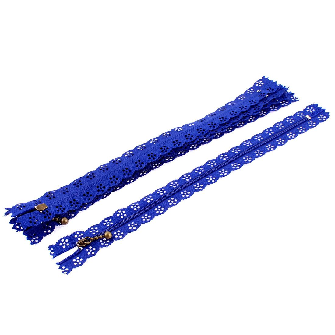 Blue Nylon Flower Floral Lace Closed End Zip Zippers 5 Pcs