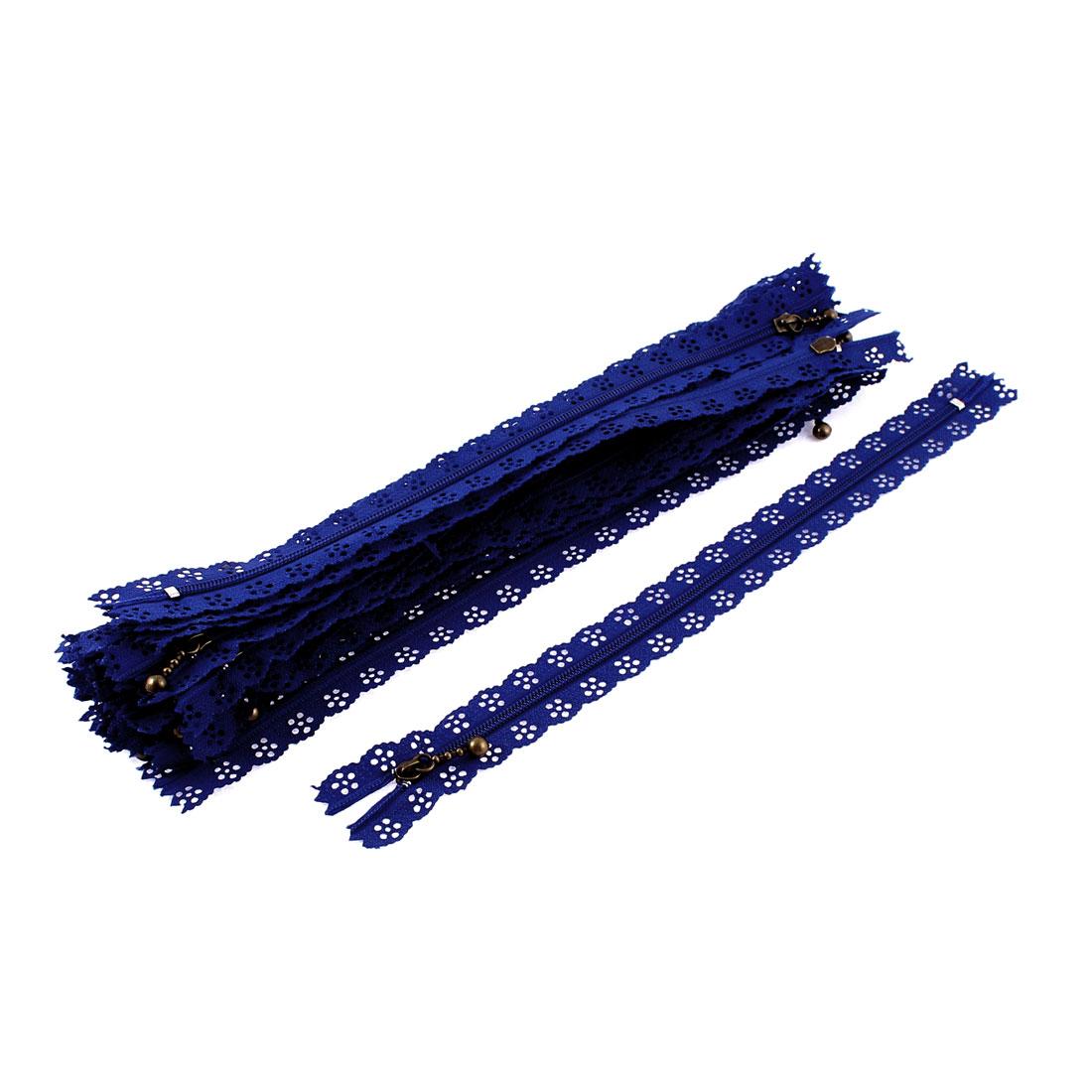 Blue Flower Floral Lace Closed End Zip Zippers 20 Pcs