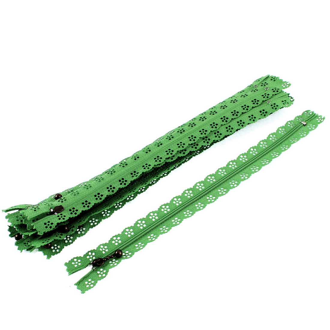 Green Nylon Floral Lace Closed End Zip Zippers 10 Pcs