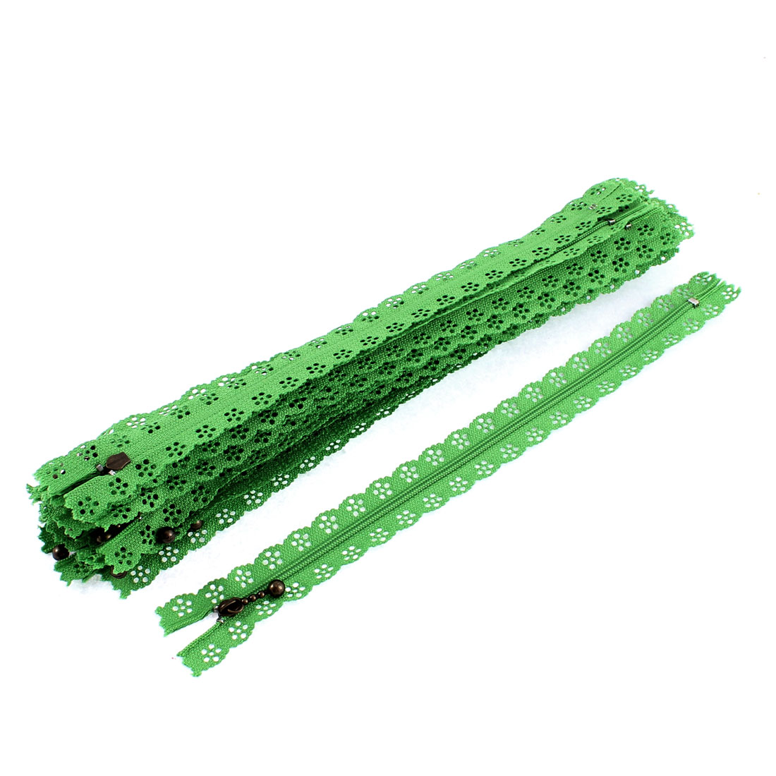 Green Flower Floral Lace Closed End Zip Zippers 20 Pcs