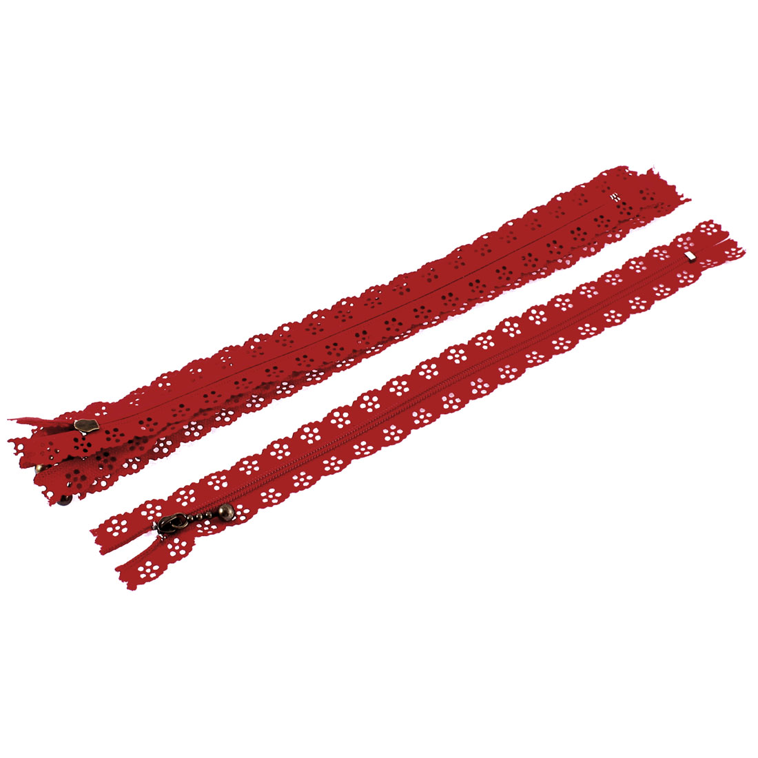 Red Nylon Flower Floral Lace Closed End Zip Zippers 5 Pcs