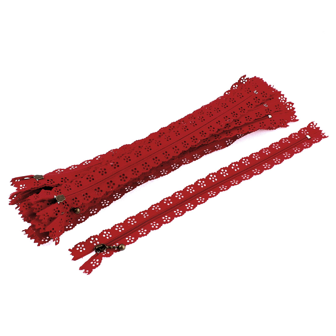 Red Flower Floral Lace Closed End Zip Zippers 20 Pcs
