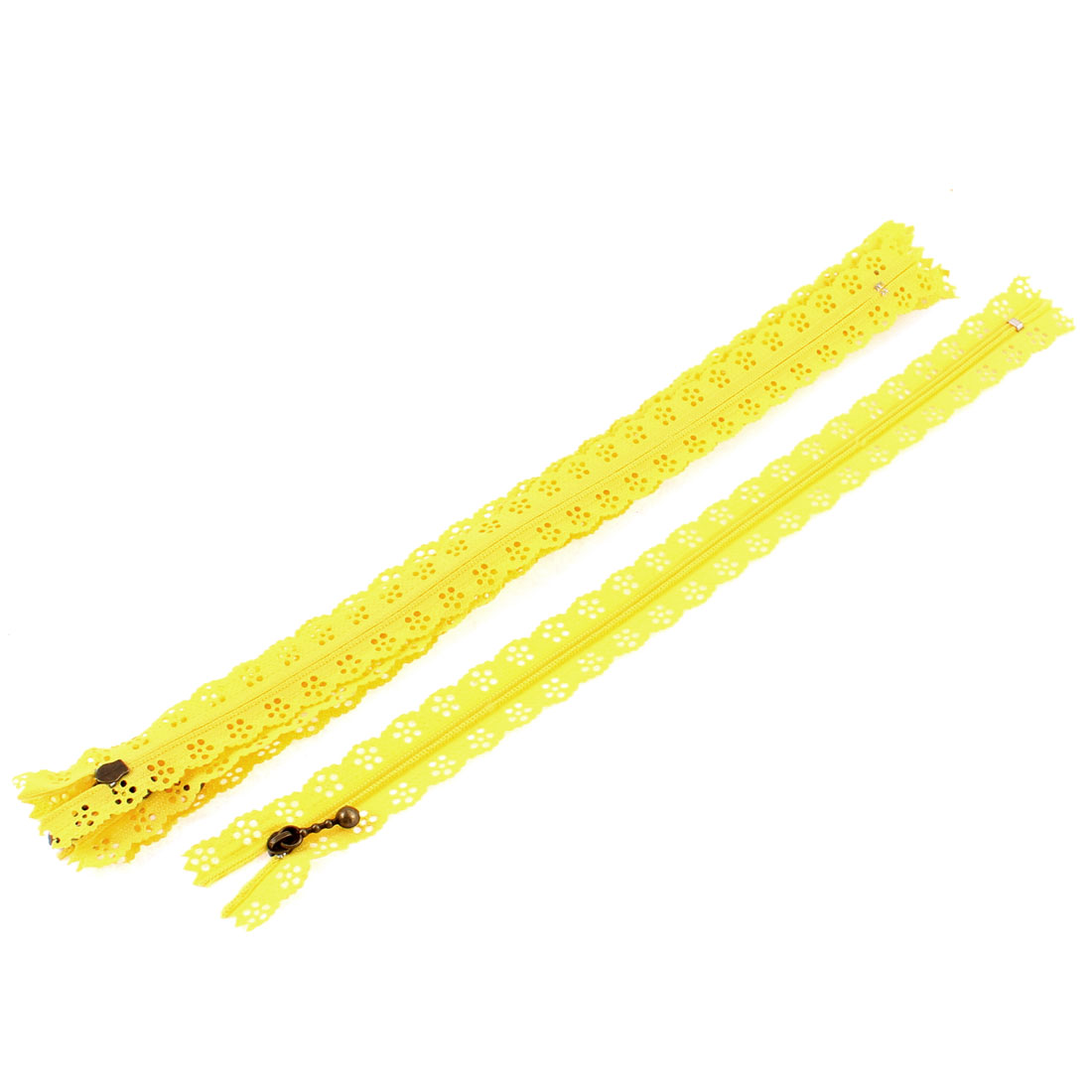 5 Pcs Yellow Lace Edged Zip Closed End Zipper 12-inch Long