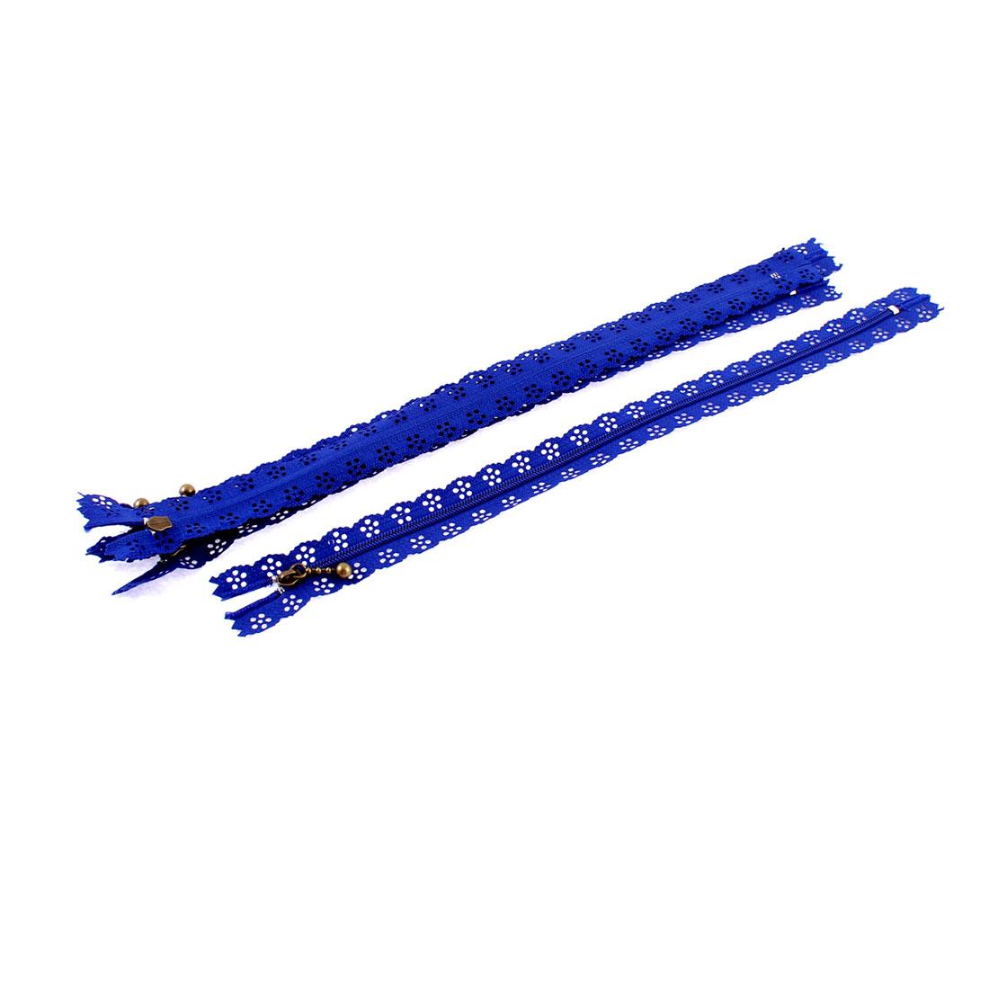 5 Pcs Blue Lace Edged Zip Closed End Zipper 12-inch Long