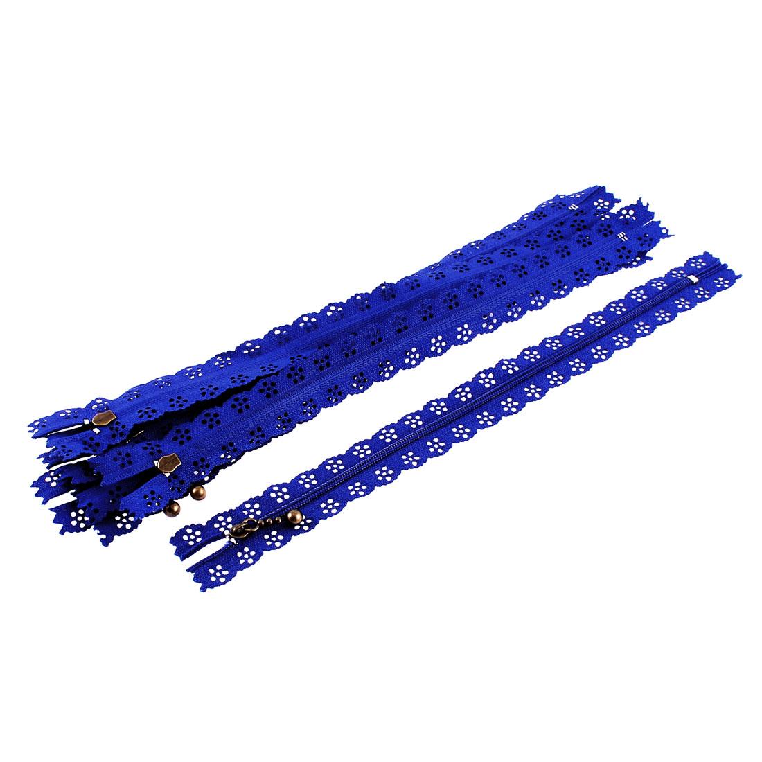 10 Pcs Blue Lace Edged Zip Closed End Zipper 30cm Long