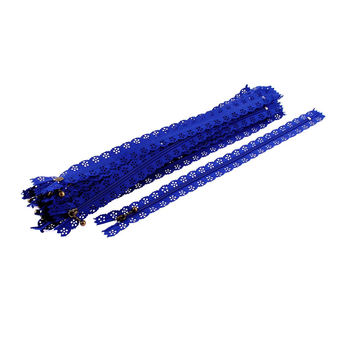 20 Pcs Blue Lace Edged Zip Closed End Zipper 30cm Length