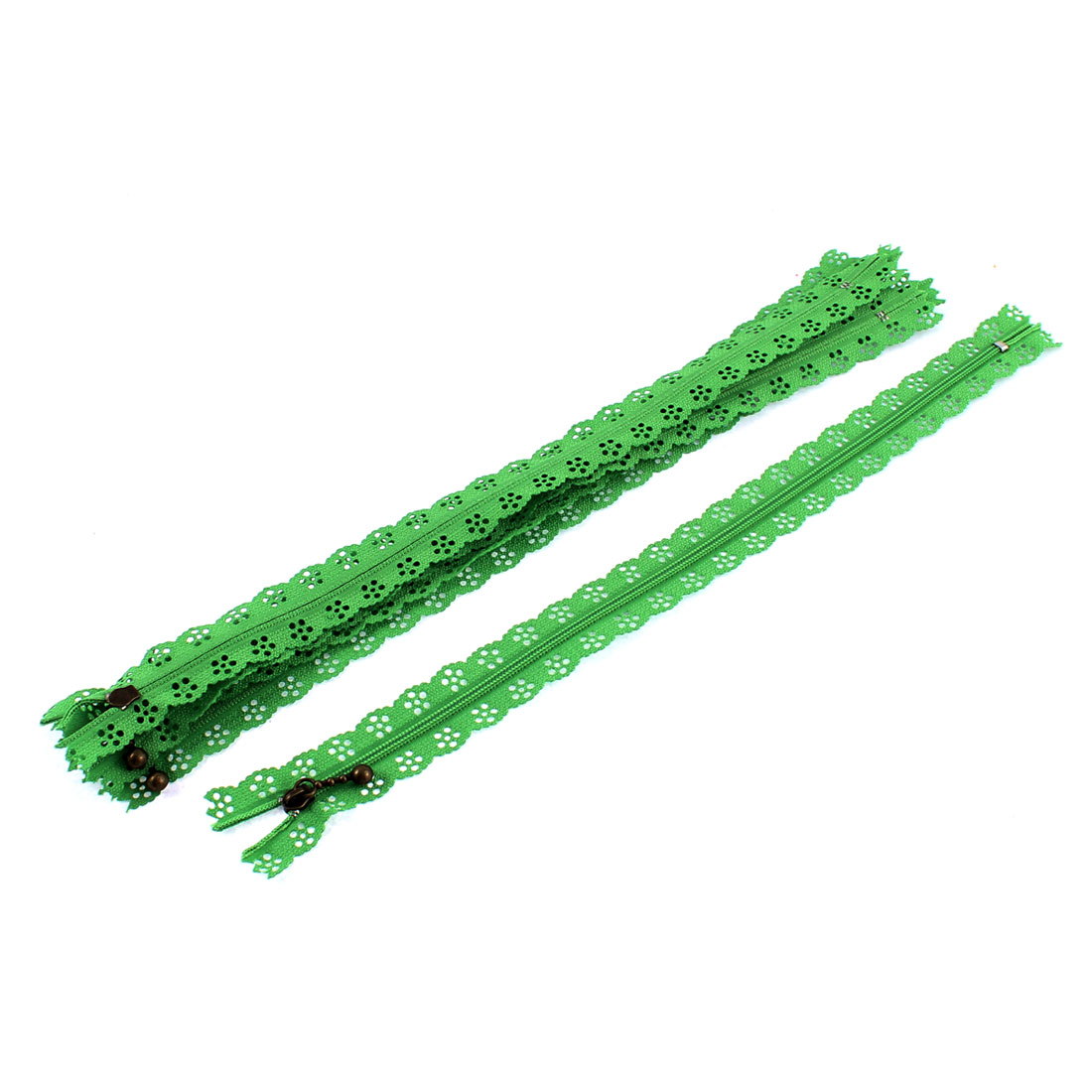 5 Pcs Green Lace Edged Zip Closed End Zipper 12-inch Long