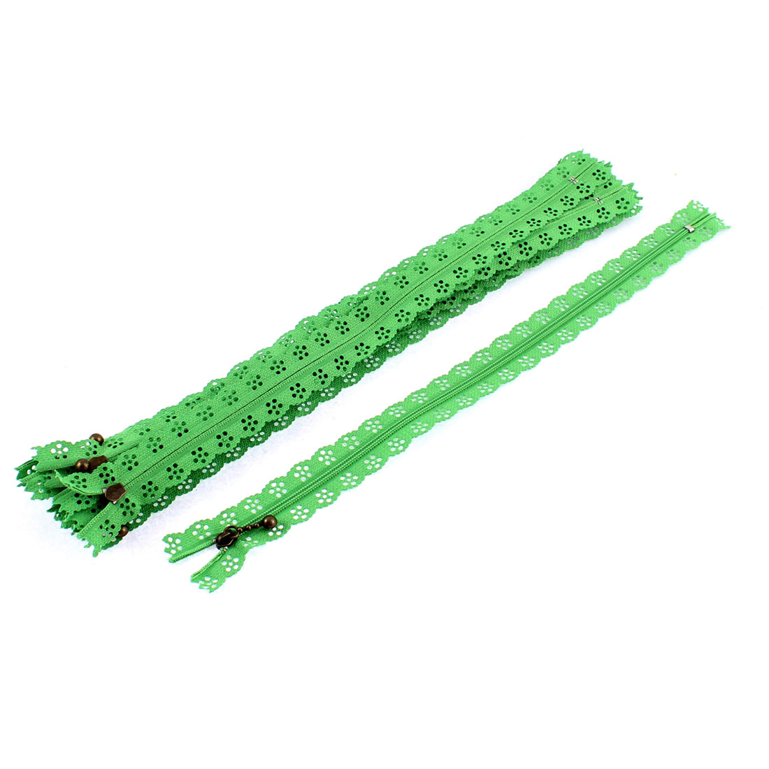 10 Pcs Green Lace Edged Zip Closed End Zipper 30cm Long