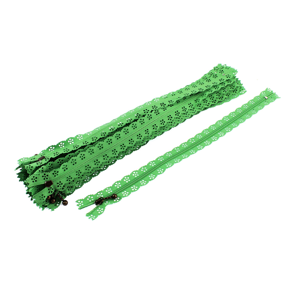 20 Pcs Green Lace Edged Zip Closed End Zipper 30cm Length